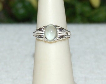 Aquamarine Ring, Size 5, Clear Silver Blue, Oval Cabochon, Sterling Silver, March Birthstone, Natural Aquamarine