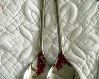 Silver Plated Serving Fork and Spoon//  Vintage Serving Utensils // Made in Italy