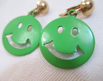 Vintage Earrings- Clip-on -Smiley Face-1960- 1970 jewelry