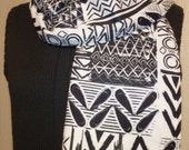 Black and White Tribal Flannel Scarf - Christmas Gifts Under 25