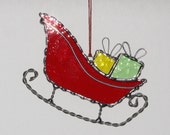 Stained Glass Suncatcher - Santa's Sleigh, Christmas Holiday Ornament, Pick Red or Green Sleigh