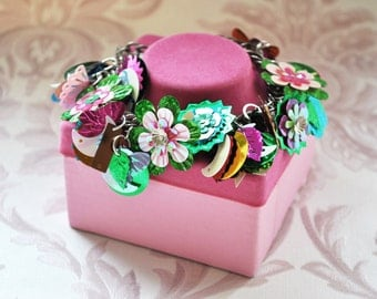 Statement Bracelet Assemblage Charms Flowers Spring