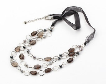Crystal Necklace Layered Necklace Handmade Jewelry Handmade Necklace Stone Necklace Layered Necklace Layered Jewelry Smoky Quartz Necklace