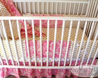 Custom Crib Bedding- Gathered-Ruffled- Crib Skirt for Baby Bedding
