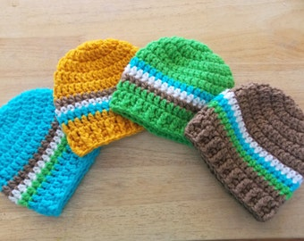 Handmade Crochet Baby Boy Hat, Newborn Beanie, Newborn Hat, Baby Boy Beanie, Made to Order, Blue, Green, Brown, Yellow