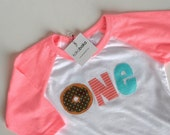 Donut Birthday Shirt for girls. Pink Raglan Birthday Shirt ages one, two or four