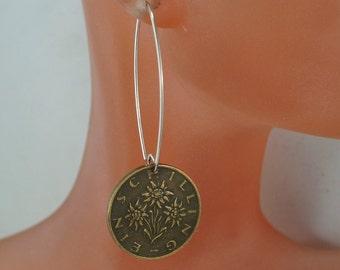 Edelweiss earrings  //  Sound of Music gift   // AUSTRIA  Flower Earrings // Austrian Coin Jewelry  //   No.00367