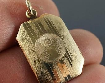 vintage BPOE Elks watch fob  - elk pendant -  gold -  antique - edwardian -   No.001287-4