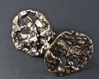 Silver Brutalist Cuff Links. sterling cufflinks. arts and crafts. abstract  No.0046
