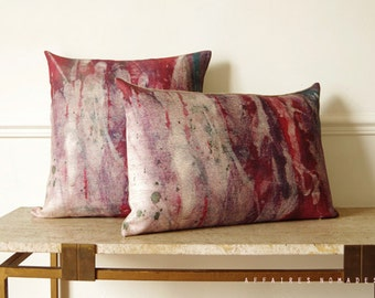 "Abstract art oriental cushion. Boho decorative oblong pillow case  14""x 22"". color Raspberry wine red .. Harmattan /  FRAGMENTS"