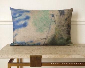 "Retro modern linen & velvet throw pillowcase. oblong14""x 22""  Original Affaires Nomades printed linen.  Atlas .. / RETRO-MODERN"