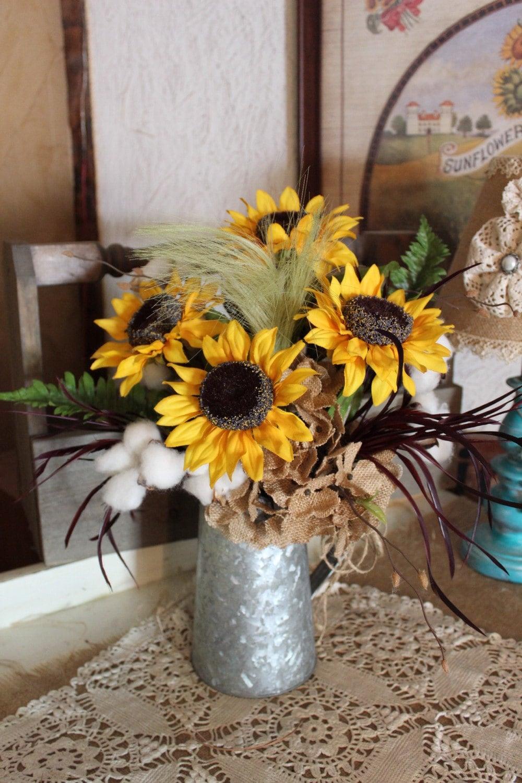 Rustic Sunflower Cotton And Hydrangea Bouquet In Galvanized