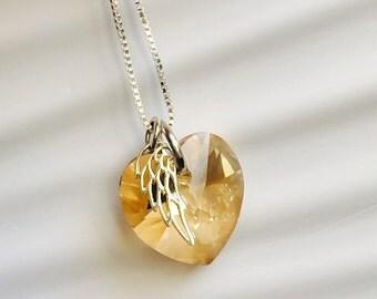 Angel Necklace - Topaz Necklace - Shadow Swarovski ®Elements Heart Angel Wing Necklace  November Birthstone