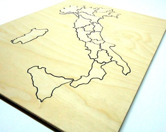Italy Map Puzzle, Wooden puzzle, Educational Wood Puzzle, Gift for childrens,Childrens puzzles,Custom puzzle, Puzzles for kids, Kids puzzles