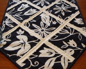 Quilted Table Runner, Reversible, Graphic Flowers SALE