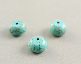 Chalk Turquoise Beads, 10mm Beads, Rondelle, Three