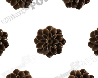 15mm - Dark Chocolate Brown Chrysanthemum Flower Cabochons, Flower Cabs, Dahlia Flatbacks, Mum Shaped, (R3-078)
