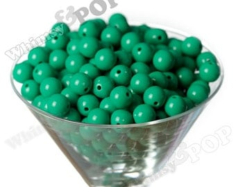 12mm - Grass Green Gumball Beads, 12mm Gumball Beads, 12mm Beads, Small Gumball Beads, Opaque Acrylic Round Beads, 2mm Hole