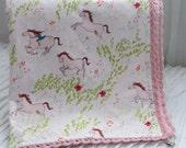 "Minky baby girl blanket- 30"" x 36""- Minky baby blanket- crib minky blanket - toddler minky blanket- girl  minky blanket- horse minky blanket"