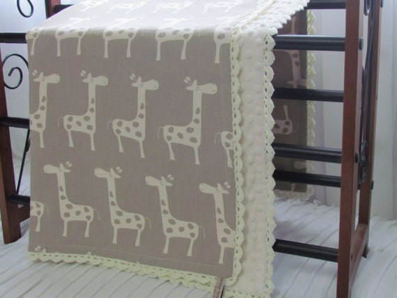 "Minky baby blanket  - 30"" X  36"" - Giraffe premiere medium weight cotton fabric minky blanket-30"" x36""-toddler giraffe blanket-minky blanket"