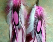 Stunning Pink Passion Feather Earrings/Gypsy/Hippie/Boho