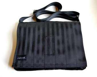 Black Crossbody Bag - Laptop Case - Seat Belt Messenger Bag (M-7)