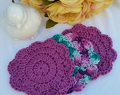 Crocheted Facial Scrubbies - Set of 3 - 100 Cotton - Hot Orchid, Variegated Hot Orchid &Teals