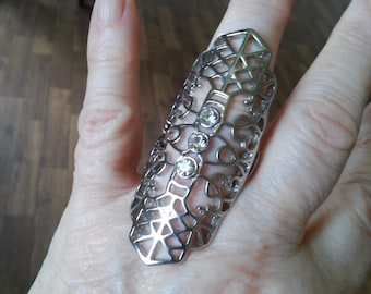 Fancy, silver tone, stretchy ring
