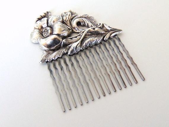 SALE Victorian Hair Comb, Victorian Flower w/ Stem, Floral Hair Comb, Silver Ox Brass, Silver Flower, Gunmetal Hair Comb PIPPA