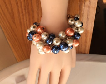 Chunky Pearl bracelet, navy coral and ivory pearls, wedding jewelry, bridesmaid jewelry