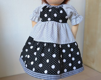 "Collection Black and White fantasy - Beautiful dress for 16 - 17"" Waldorf dolls"