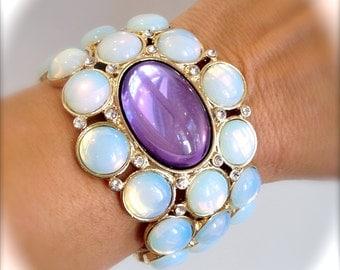 Opal Aurora Borealis Moonstone Crystal Cuff Bracelet Purple Stone Bracelet White Stone Large Stone Statement Bracelet