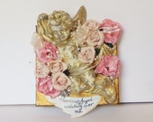Valentines day mixed media mini canvas wall hanging with a Vintage Cherub, Swarovski elements, real pearls and pink roses, Assemblage art