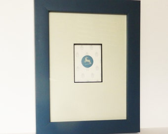 Rare, Wedgwood Medallion fully framed, with Capricorn the Goat from the Zodiac series, Wedgwood cameo, Blue and white Vintage Jasper ware