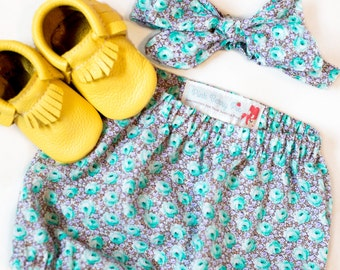 Baby and Toddler Bloomers Shorts Diaper Cover and Headband Top Knot Set in Vintage Turquoise Floral Print