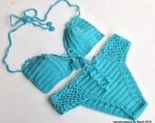 Turquoise Crochet Swimwear Swimsuit Bikini Women Swimwear Swimsuit Summer Beach Wear Bathingsuit Festival Gifts For Her / senoaccessory