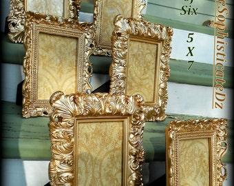 "6 Antique Gold French/Baroque Wedding Decor-""Mix & Match"" -5x7 Frames,Formal Reception,Nursery,Paris Gold,Vintage Party Decor,Rococo,Glam"