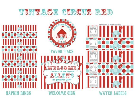 VINTAGE CIRCUS red and teal - party pack - You PrinT - BIG pack