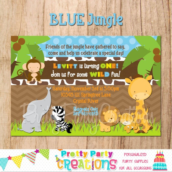 BLUE JUNGLE invitation - with or without photo - YOU Print