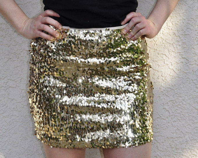 Bright Gold Sequin Skirt - Stretchy, beautiful, fun mini skirt (Small, Medium, Large, XLarge). Ships asap!