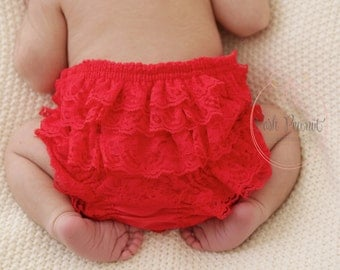 Christmas diaper Cover - Red Lace Diaper Cover - Ruffle Diaper Cover - Ruffle Bloomers - Newborn Diaper cover - Toddler - Diaper cover set