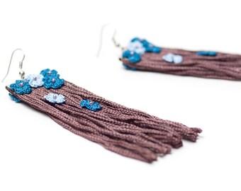 Earrings-Bohemian Tassel Earrings with Crochet Flowers, Brown Blue,Floral Jewelry, Fringe Earrings, Long Earrings, Handmade, Fiber Jewelry