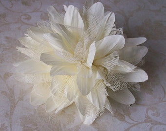 Ivory Flower Hair Pin - Chiffon and Tulle Bridal Hair Flower