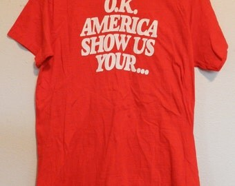 vintage Underalls America T Shirt M/L funny advertising rare 70s tee Hanes red USA 1977 commercial