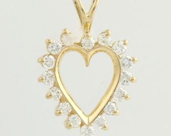 Diamond Heart Pendant -14k Yellow Gold Natural 1/2ctw Love r5354
