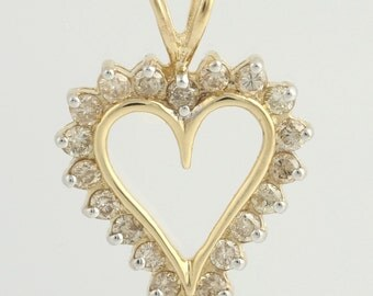 Diamond Heart Pendant - 10k Yellow Gold Women's Love Polished 1.00ctw f1932