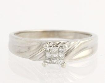 Engagement Ring Illusion Solitaire Diamond - 14k White Gold Genuine .25ctw Unique Engagement Ring L951