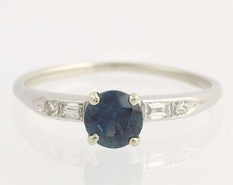 Sapphire and Diamond Engagement Ring - Platinum & 14k White Gold Blue Rock Creek Unique Engagement Ring L866
