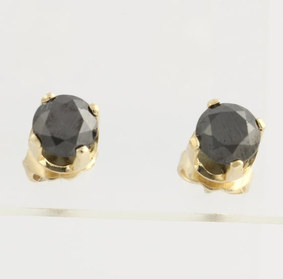 Diamond Earrings Genuine Black Diamond Stud Earrings