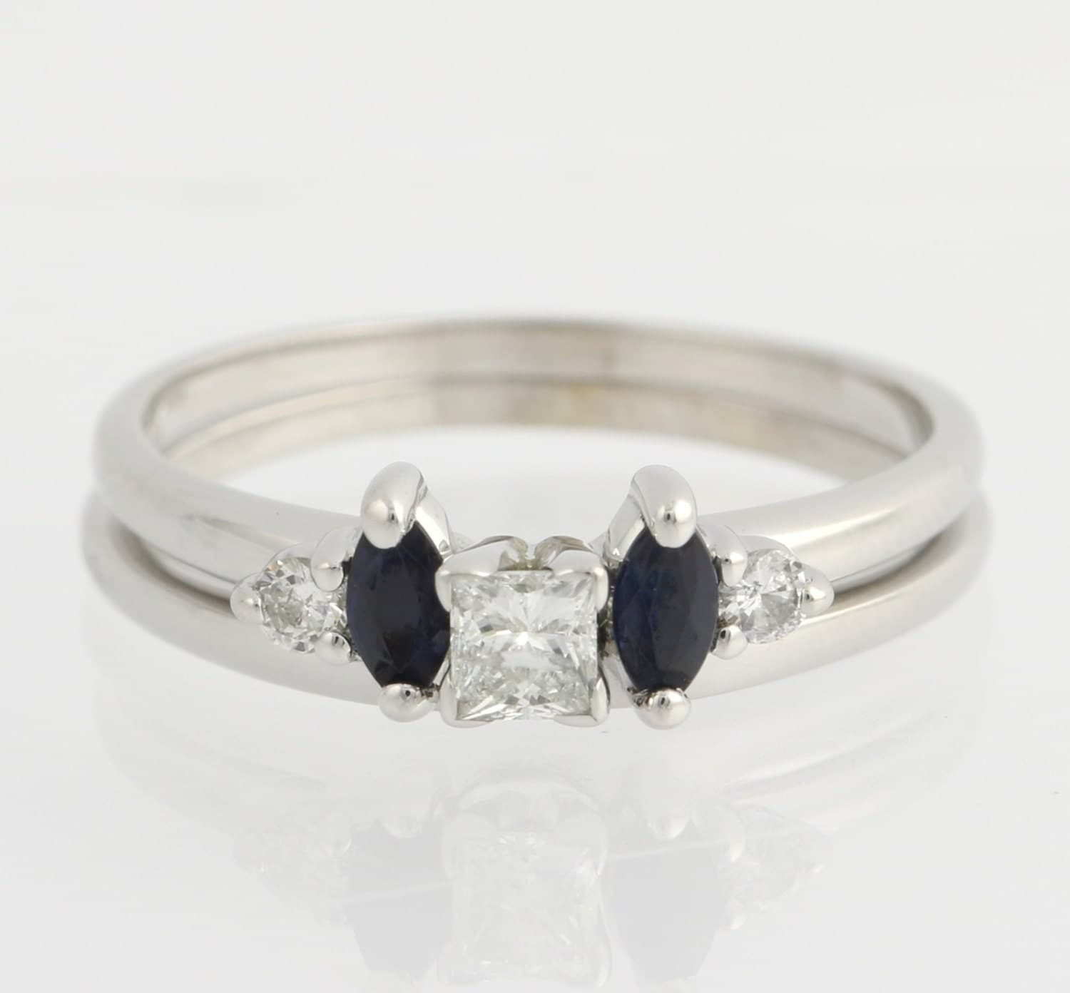 engagement ring sapphire wedding enhancer band set solitaire